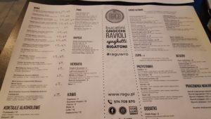 Ragu Wrocław - Menu Restauracja Włoska Ragu